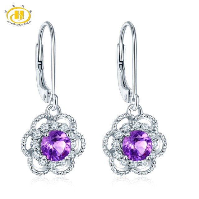 Hutang Stone Jewelry Natural African Amethyst Solid 925 Sterling Silver Earrings Fine Fashion For Feb