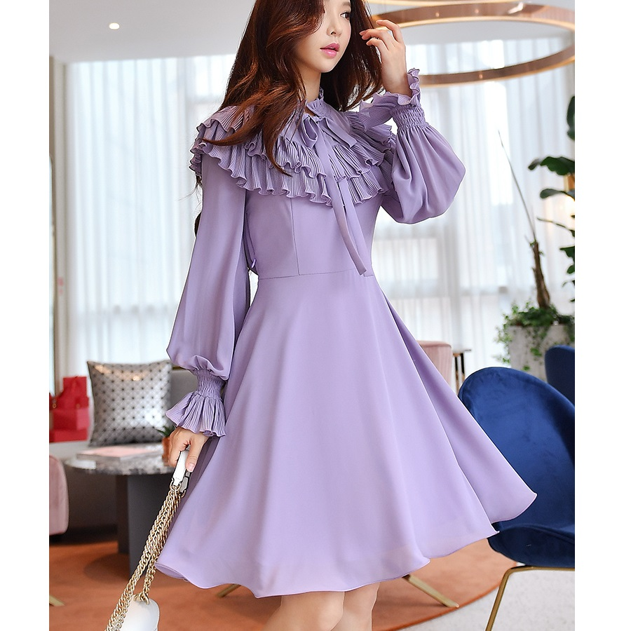 Original 2018 Brand Korean Midi Dress Elegant Ruffles Slim Waist