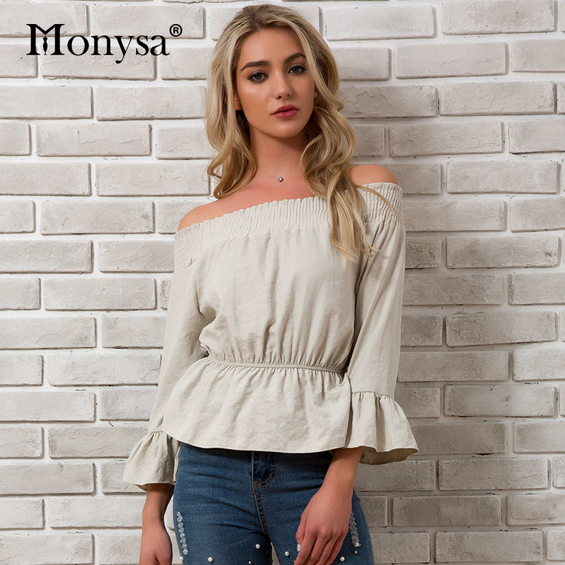 15e46ed4ccbd8 Off Shoulder Tops For Women 2018 Spring Summer New Arrivals Ruffle Flare  Long Sleeve Blouses Ladies Streetwear Peplum Tops
