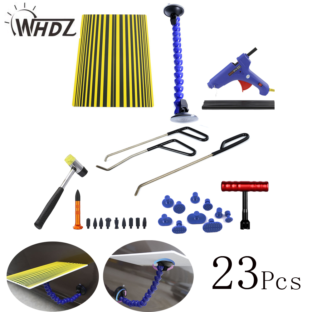 Paintless Dent Repair Tool Kit - PDR Line Board Reflector Board with PDR Ding Dent Repair Rod Glue Gun Glue Stick Puller Tabs paintless dent repair tool pdr kit dent lifter glue gun line board slide hammer dent puller glue tabs suction cup pdr tool