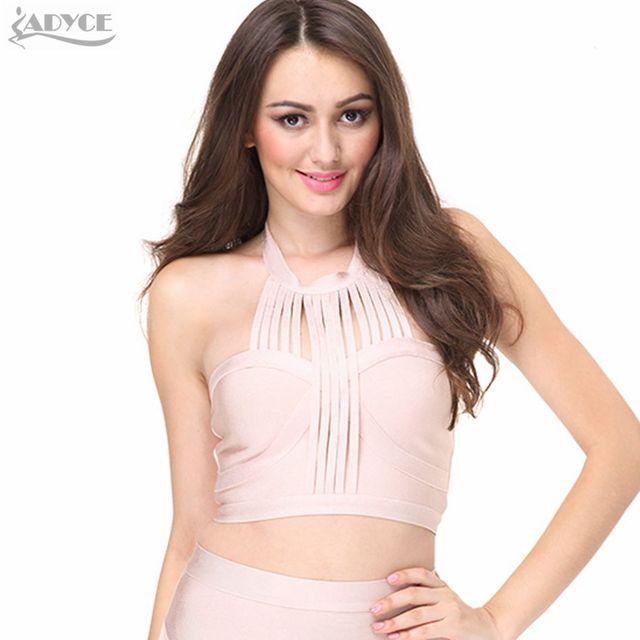 72f694b5ec1 ADYCE 2017 Summer Chic Runway Tank Top pink khaki black white sexy  Sleeveless Bandage Top Crop Top Nightclub wear wholesale