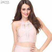 2016 New Summer Chic Runway Designpink Khaki Black White Sexy Sleeveless Bandage Top Tank Crop Top
