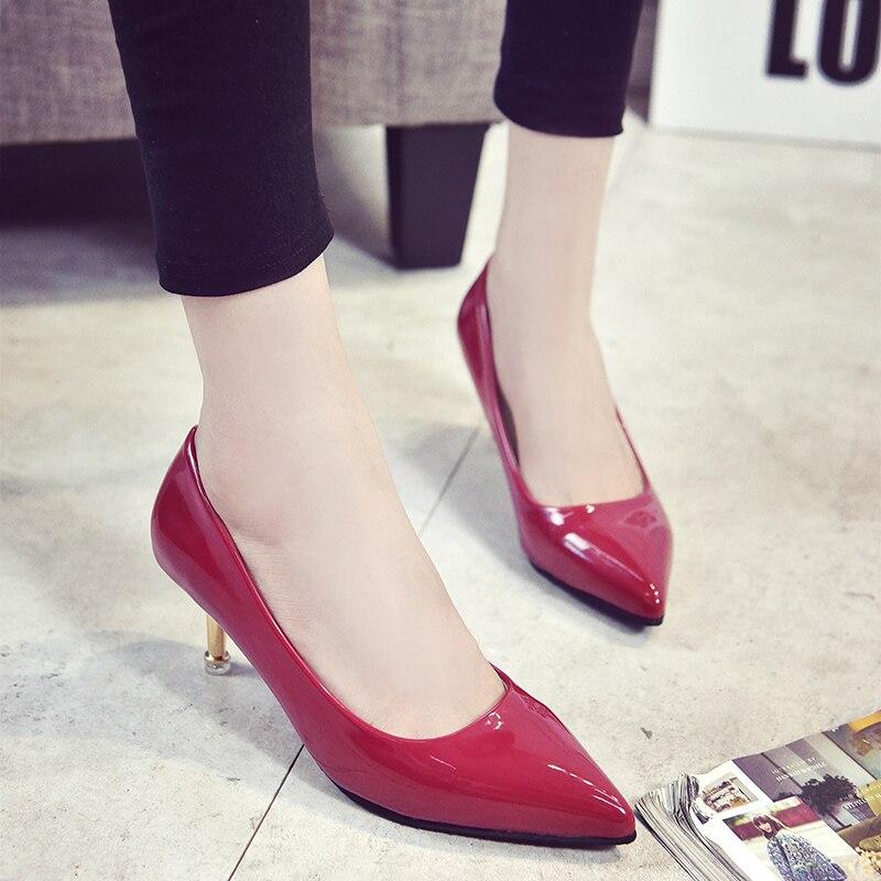 Dame À b Pu Blanc Cresfimix Chaussures Noir Casual Femmes Cuir Bureau Mignon c Pompes d Hauts Douce Talons C3112 Classique e A gUOwz7gxn