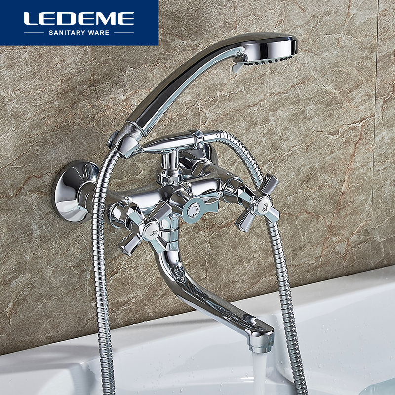 LEDEME Shower Faucet New Chrome Wall Mounted Waterfall Bathtub Faucet Set With Hose Brass Shower Head