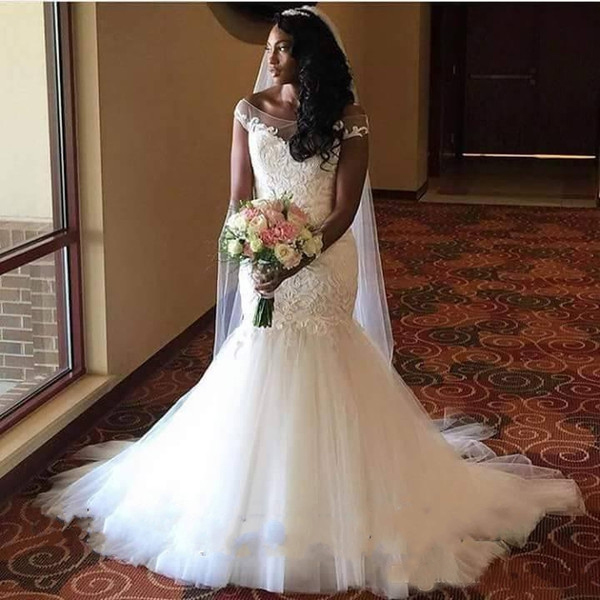 Mermaid Plus Size Wedding Dresses 2019 African Gorgeous Sheer Neck Vestidos De Novia Bridal Gown Sexy Bride gelinlik Custom