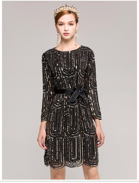 Luxury Sequined Elegant 3/4 Sleeves Runway Dress