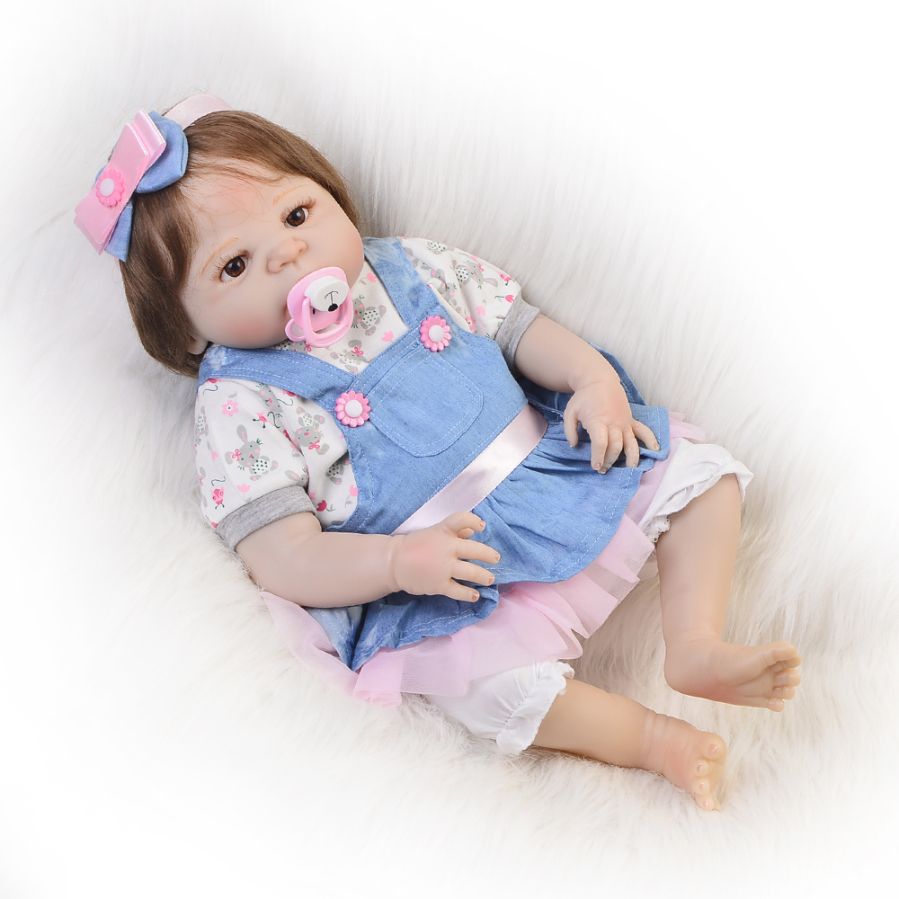 23'' Russian Silicone Reborn Baby Girl Full Body Vinyl Dolls Touch Real Baby Dolls Lifelike Real Hair New kids Playmates 23 lifelike reborn baby full silicone body baby born girl vinyl baby toys real newborn dolls hot sale kids playmates gifts