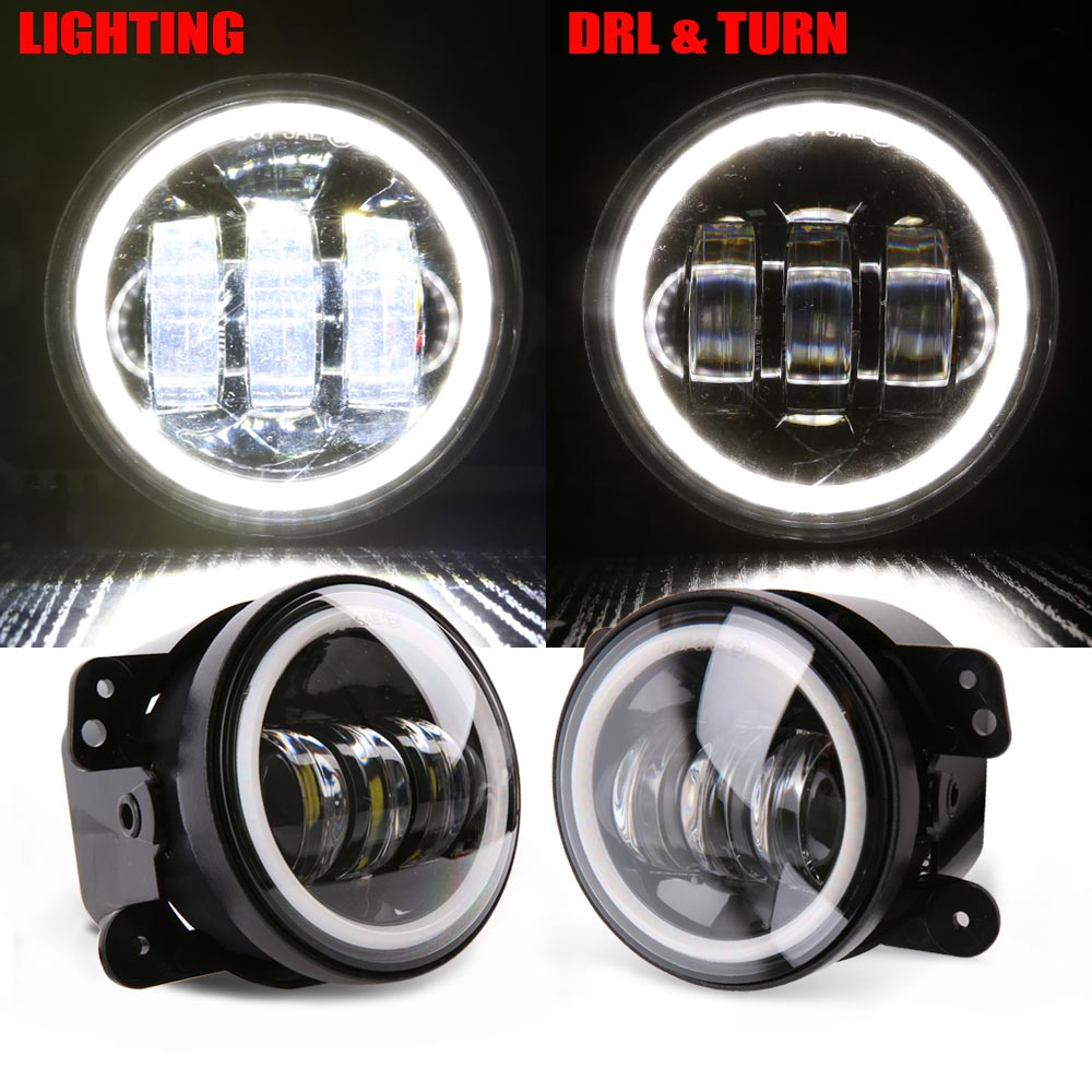 4 Inch Round Led Fog Light Headlight 30W Projector lens With Halo DRL font b Lamp