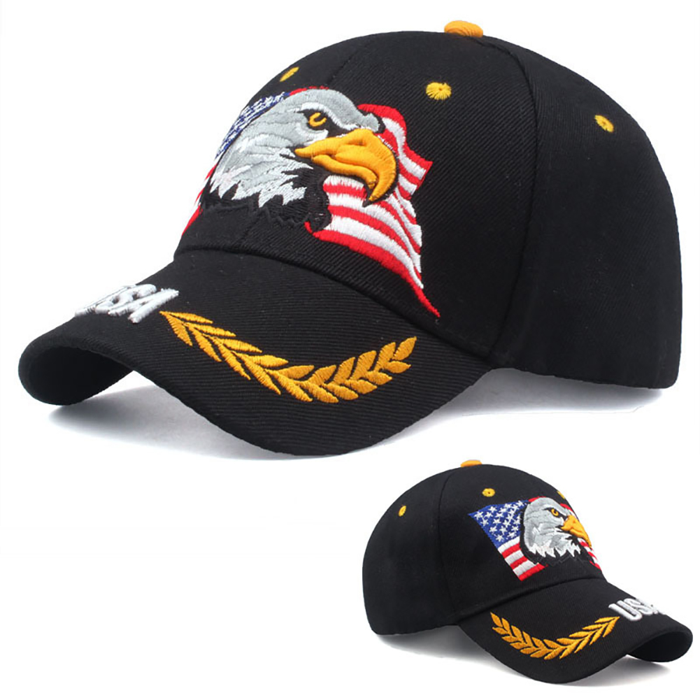 Men Women   Baseball     Cap   3D Embroidery USA Flag Polyester Casual Adjustable Size Protection Handmade Fashion Fitted Eagle Pattern