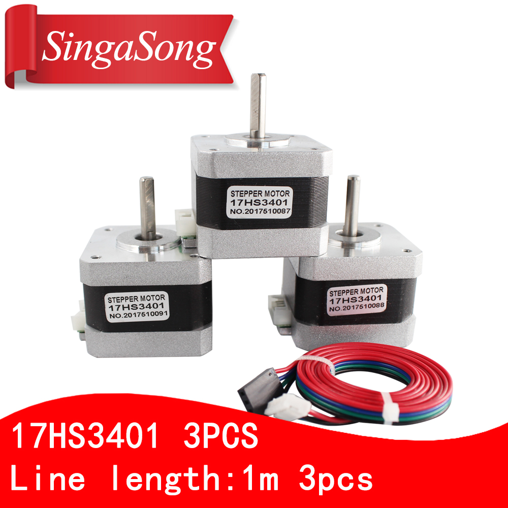 3pcs. Free shipping and Quality 17HS3401 4-lead Nema 17 Stepper Motor 42 motor 42BYGH 1.3A CE ROSH ISO CNC Laser and 3D printer free shipping 3pcs nema 23 stepper motor dual shaft 57bygh 2 8a 100mm ce rohs iso embroidery 3d printer