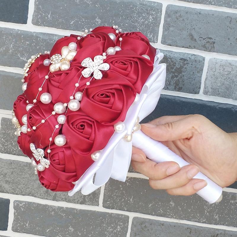 4  WifeLai-A Manufacturing facility Sale Wine Purple Shade Bride Bouquet Marriage ceremony Flowers de noiva Uncooked Shade Pearl Silver Diamond Beaded 18cm W251 HTB1EGm3zsyYBuNkSnfoq6AWgVXaQ