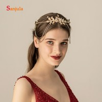Vintage Gold Headband Headwear Leaves Flowers Forehead Hair Jewelry Bridal Wedding Party Hair Accessories accesorios mujer H278