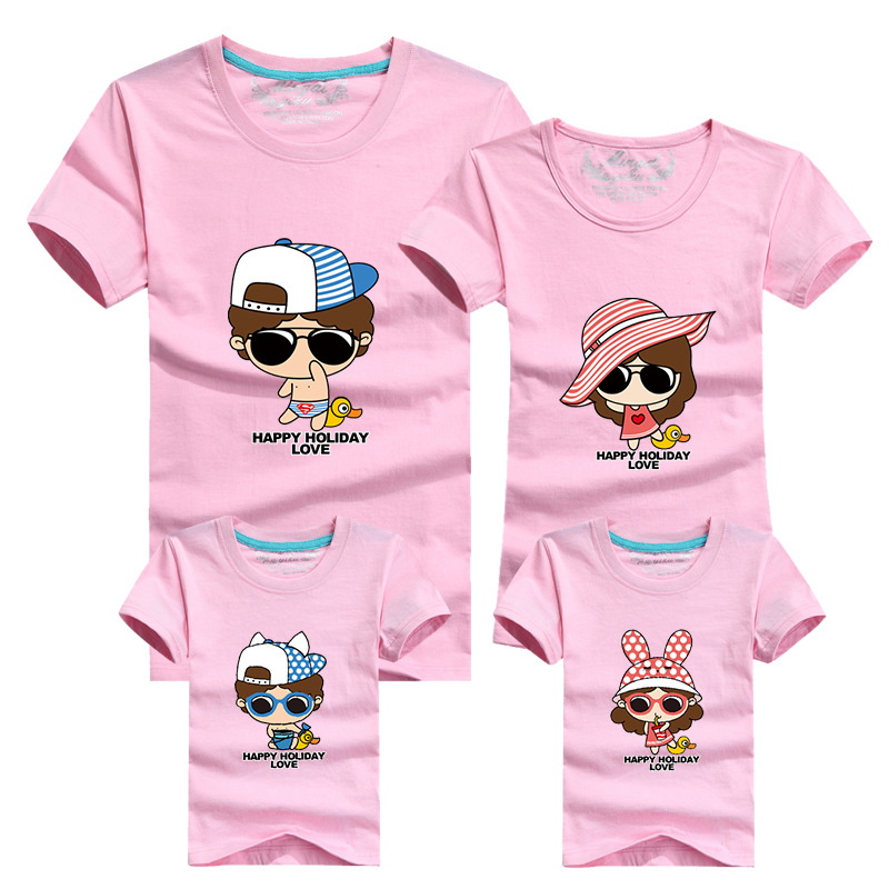1 Piece Family Look Cartoon T Shirts Tees 2016 Family Matching Outfits Mother Daughter Son Father Short Sleeve Cotton T-Shirt