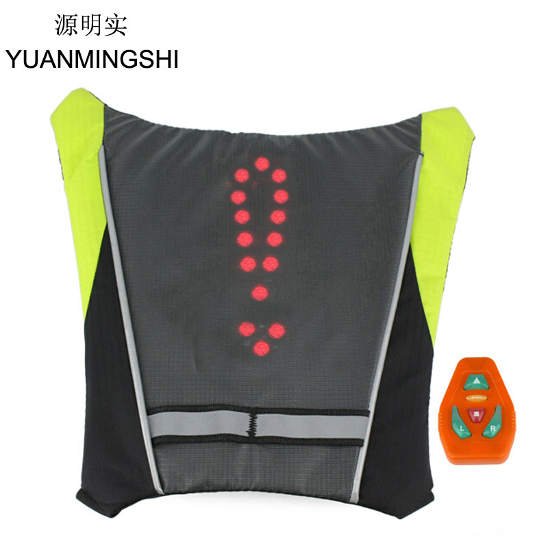 YUANMINGSHI Motorcycle Reflective Safety Vest LED Backpack Vest Pilot Lamp Bicycle Lights+Motorbike Cycling Reflective LED Vest цена