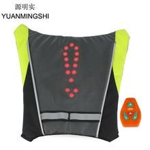 YUANMINGSHI Moto Giubbotto di Sicurezza Riflettente LED Zaino Maglia Pilot Lampada Luci Della Bicicletta + Moto Ciclismo Riflettente LED Vest