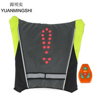 YUANMINGSHI Motorcycle Reflective Safety Vest LED Backpack Vest Pilot Lamp Bicycle Lights+Motorbike Cycling Reflective LED Vest