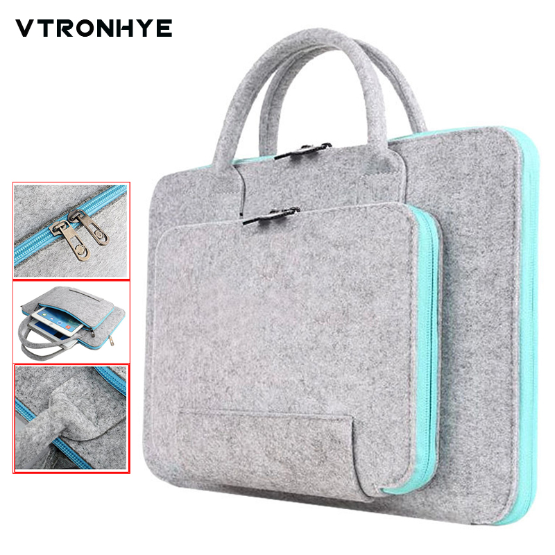 11 13 14 15.6 <font><b>17.3</b></font> Inch Super Light Solid Wool Felt <font><b>Laptop</b></font> <font><b>Bag</b></font> Handbag for MacBook Lenovo Dell HP Asus Computer <font><b>Bag</b></font> Men Women image