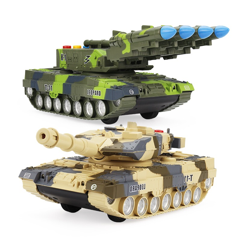123123 Sa Daily special offers children's inertia toy car baby boy tank model band sound music 19cm