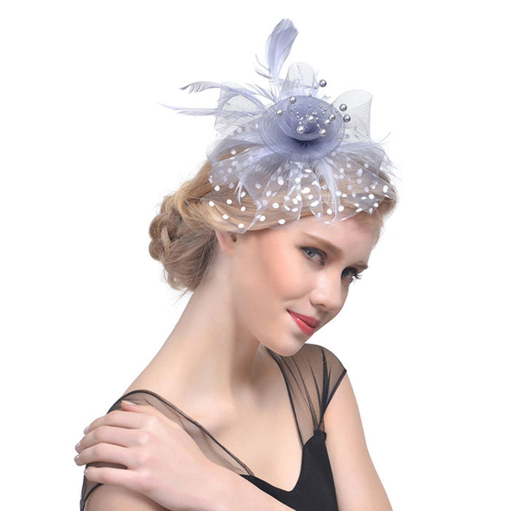 37015e2c Feather Fascinating Top Hat, Flower Cocktail Tea Party Headwear for Girls  and Women (White)-in Women's Fedoras from Apparel Accessories