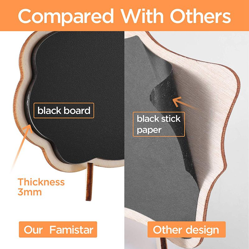 Mini Thicker Black Chalkboards Signs Easy to Wipe Out 10 PCS Wood Small Messag Board Signs Place Cards for Weddings Parties Ta