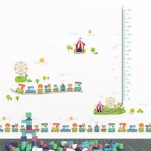 cartoon amusement park animals train growth chart wall decals kids rooms home decor height measure stickers pvc mural art