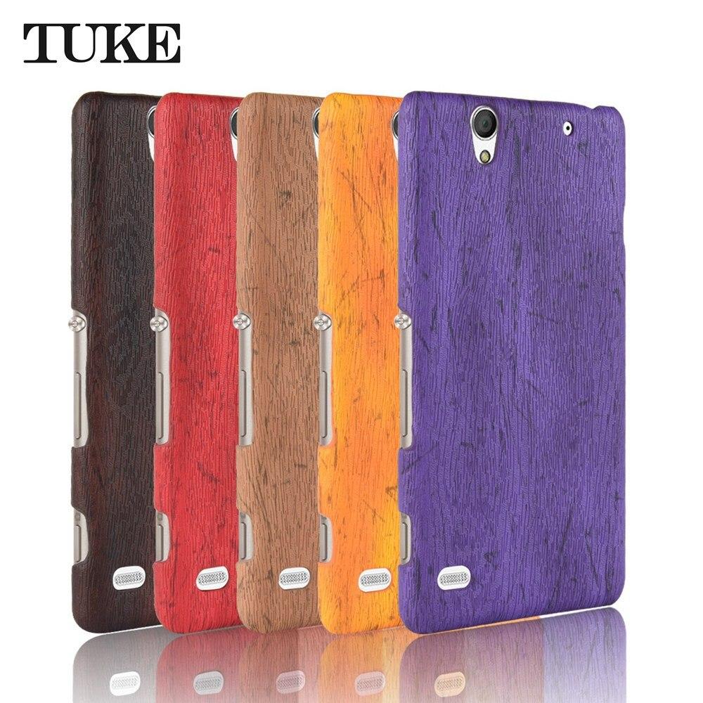 TUKE For Sony Xperia C4 Phone Case PC Plastic Cover For Sony Xperia C4 Dual E5333 E5306 E5303 E5353 Wood Cases