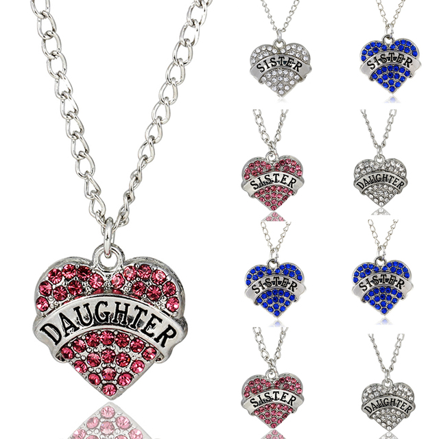 Love heart necklace crystal pink blue clear daughter sister love heart necklace crystal pink blue clear daughter sister pendant necklace family jewelry best friend gifts mozeypictures Image collections