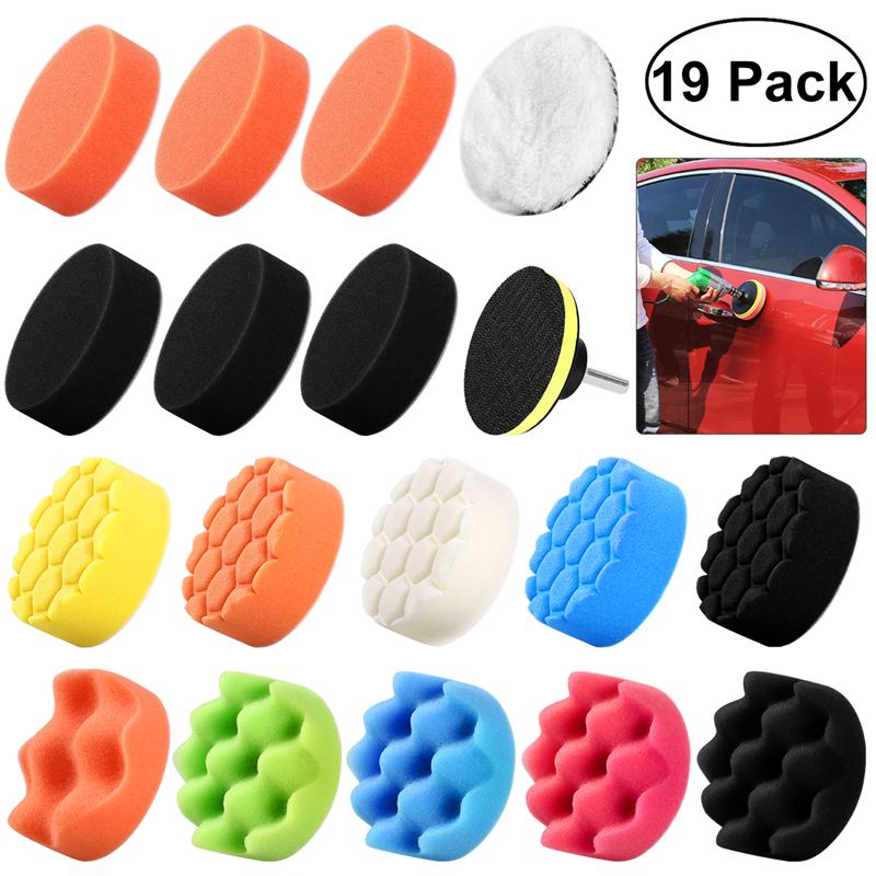 3Inch Car Wash Waxing Sponge Polishing Buff Pads Set Kit with M10 Drill Adapter for Car Polisher