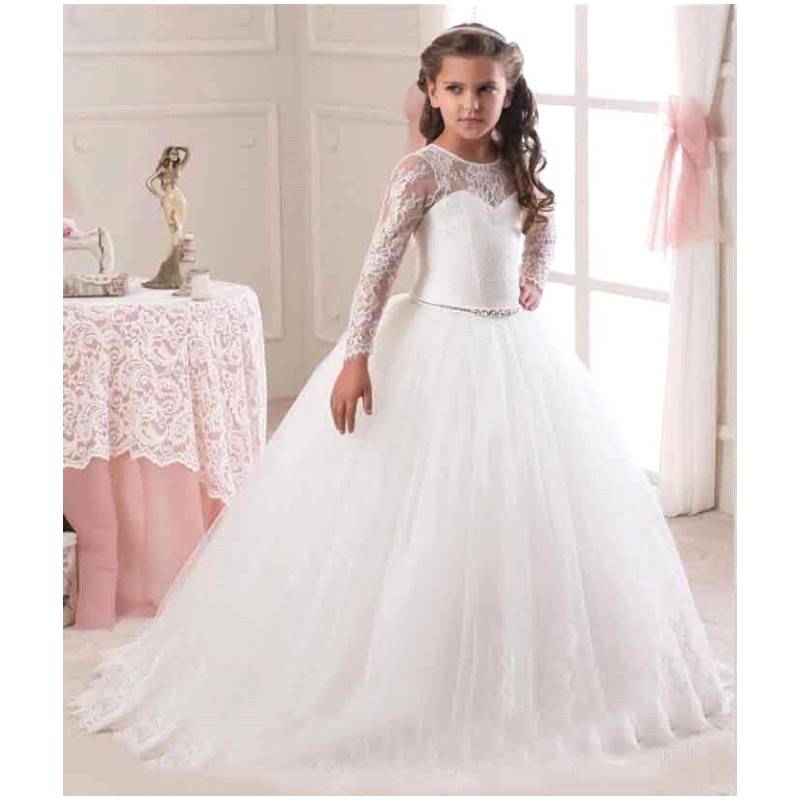 Lace Flower Girl Dress Holy Wedding Kids Communion Party Prom Princess Pageant