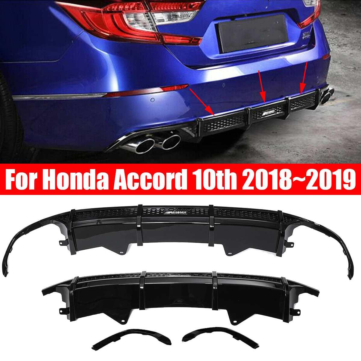 3Pcs Black Rear Bumper Diffuser Body Kit Lip Cover Trim For Honda for Accord 2018~2019 Auto Exterior Part Bumper Skirt Spoiler