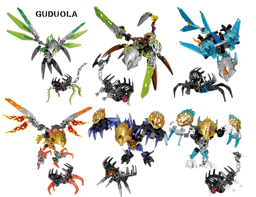 Guduola BIONICLE 6 pcs/set jungle stone Water Earth Ice Fire Building Block toys Compatible legoing BIONICLE best gift for boy цена
