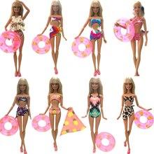 NK Doll Swimwear Beach Bathing Clothes Bikini Swimsuit+Slippers+Swimming Buoy Lifebelt Ring For Barbie Doll Best Girl' Gift 005J