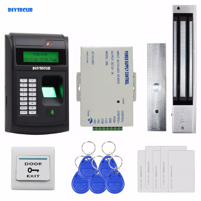 DIYSECUR 125KHz RFID LCD Biometric Fingerprint Keypad ID Card Reader Access Control System Kit + Electric Magnetic Lock 208I-S