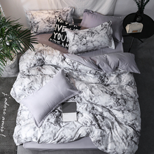 WINLIFE 3PCS/4PCS Microfiber Duvet Cover Set Marble Bedding with Zipper
