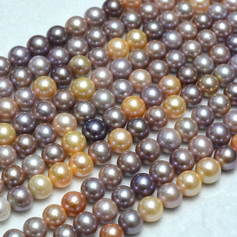 Wholesale 13-14mm Round White Freshwater Baroque Pearls Beads Full Strand For Jewelry Making все цены