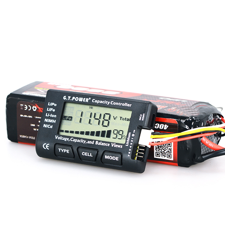 1PCS G.T Power Digital Battery Capacity Controller RC Model LCD Acid Lead Lithium Battery Capacity Indicator for LiPo LiFe Li-io
