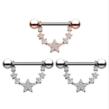 2PCS Hot Sale Fashion Style Dangle Nipple Rings Stainless Steel Women Pentagram Bar Barbell Piercing Nipple Rings Body Jewelry