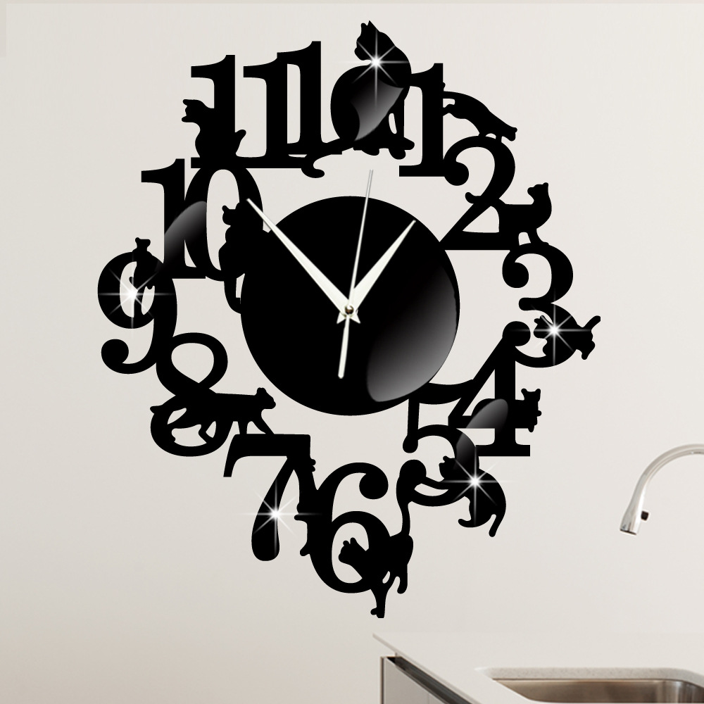 S Originality Black Cat Wall Clock A Living Room Decorate Cartoon The