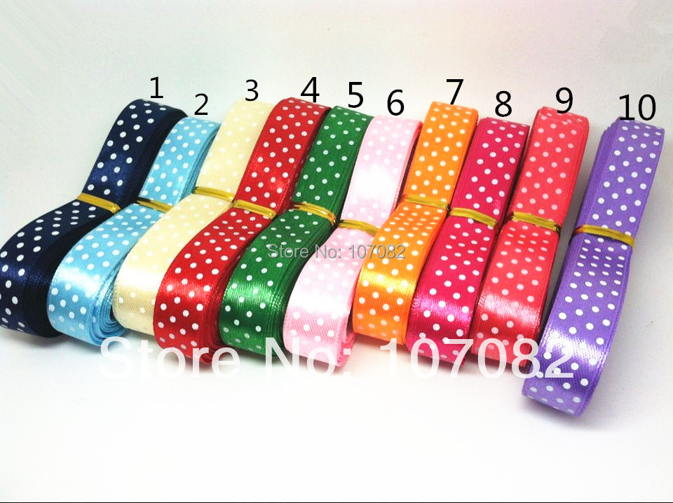 12pcslot White Dots Satin Ribbons For Wedding Decorations And Bow