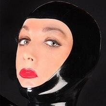 sexy lingerie exotic club wear unisex black latex open face hoods cekc zentai fetish customize size costumes XS-XXL