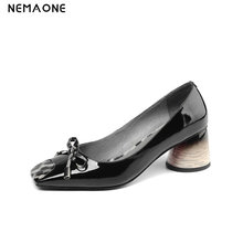 NEMAONE 2019 Women Black pink Shoes Female Genuine Leather Shoes High Heel Pumps Bow Brand New Shoes