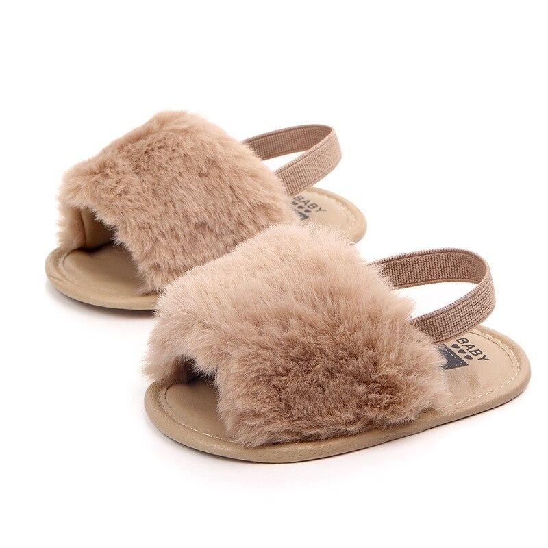 Summer  Girls Soft Sole Shoes Plush Slide Sandal Non-slip Sandal Princess