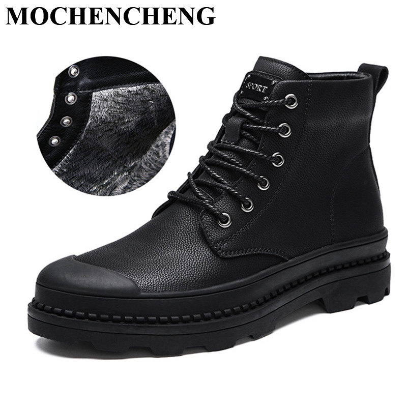 New Men Tooling Boots with Fur Winter Warm Snow Boots Lace-up High Top Casual Shoes Real Leather Waterproof Retro Solid Black