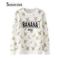 Camisa Da Menina T de Banana SOSOCOER T-shirts Para Crianças Roupas 2017 primavera Outono Manga Longa Branco Frutas Criança Meninas T Camisas topos