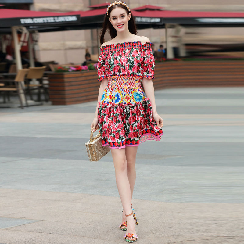 Kort kjole bane High Quality 2018 Summer New Women's Fashion Party Boho Beach Sexy Vintage Elegant Chic Print Kjoler