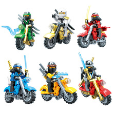 цены Hot Ninja Kai Jay Zane Cole Lloyd Carmadon Ninja figures Building Blocks With Motorcycle Compatible With Toys JM151