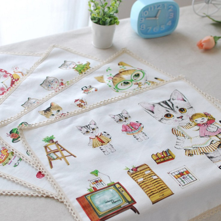 The Cutey Animal Style Cotton And Linen Place Mat Eat Mat Restaurant Napkin Single Layer One Side 3020CD