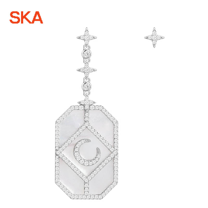 SKA Drop Earrings For Women Jewelry Zircon Moon Asymmetrical Star 925 Sterling Silver Inlaid Crystal Women's Earring AE10660XNA moon angel drop earrings