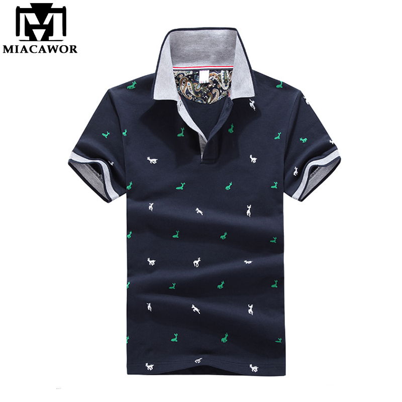 MIACAWOR 2019 New  Polo Shirts For Men Fashion Print Summer Short-sleeve  Homme Slim Fit Casual Camisas Masculinas MT609
