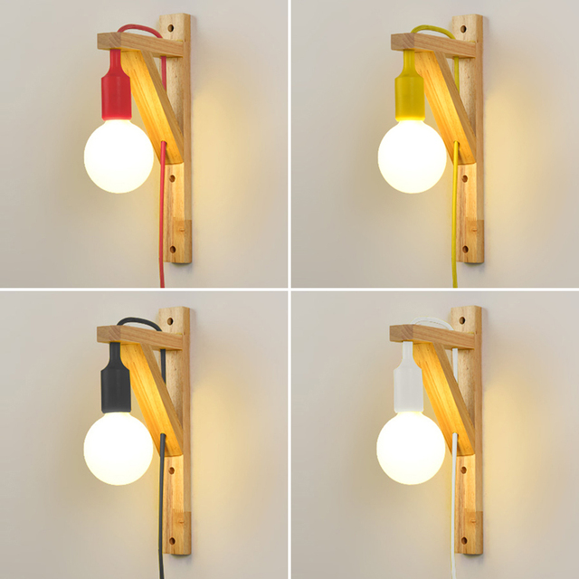 Merveilleux Wood Wall Lamp For Living Room Bedroom Room Led Energy Saving With External  Plug Hanging Wall
